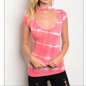 Tops - Coral and Ivory Tie Dye Choker Top